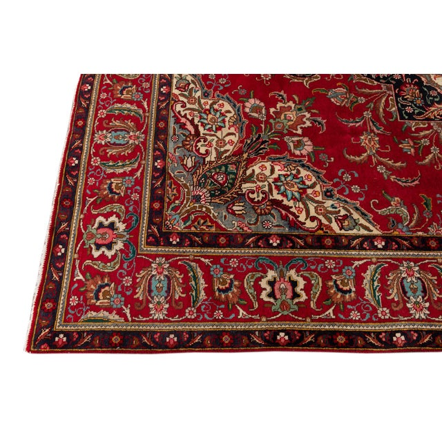 "Vintage Persian Tabriz Rug, 7'10"" X 11'0"" For Sale - Image 9 of 11"