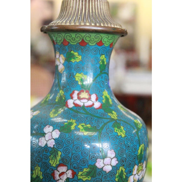 Art Glass Mid 19th Century Cloisonne Lamp For Sale - Image 7 of 9
