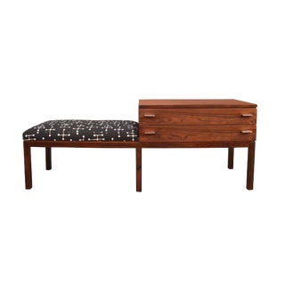Vintage Danish Modern Brazilian Rosewood Entry Bench For Sale