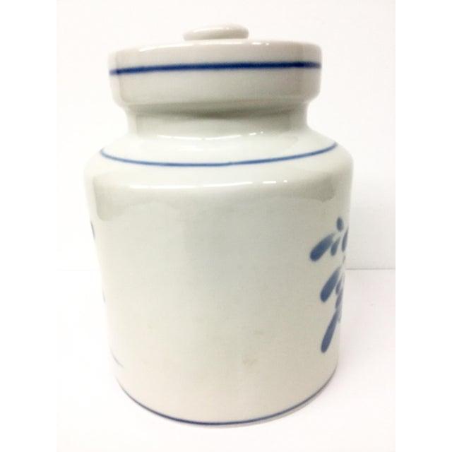 Mediterranean 1980s Mediterranean Blue and White Cookie Jar For Sale - Image 3 of 13