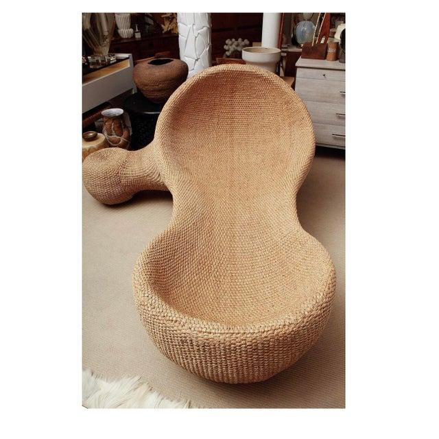 White Modernist Woven Wicker and Rope Chaise Lounge For Sale - Image 8 of 12