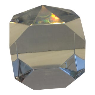 Vintage Baccarat Faceted Cube Paperweight For Sale