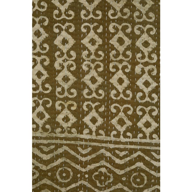 Contemporary Indian Kantha quilts. Olive green. Two different designs as shown. Quilting stitches visible in photo of...