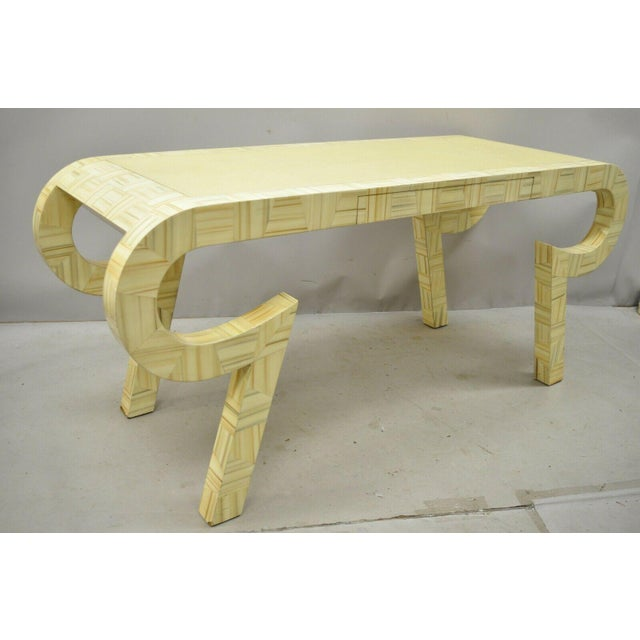 Late 20th Century Allesandro Baker Karl Springer Style Cream Console Table For Sale - Image 5 of 13