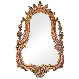 1850's Carved French Rococo Mirror For Sale
