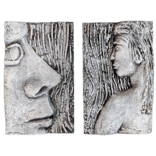 Mid Century Modern Resin Lava Wall Plaques of Women - a Pair For Sale