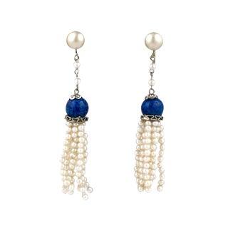 Art Deco Pearl Tassel Earrings For Sale