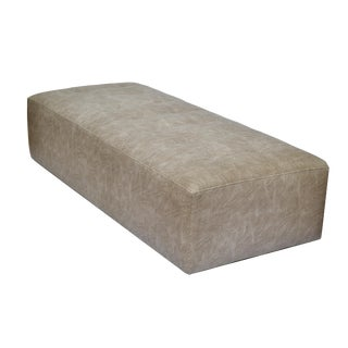 Modern faux shagreen leather bench on casters. For Sale