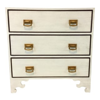 Currey & Co. Modern White Lacquered Linen Chest of Drawers For Sale