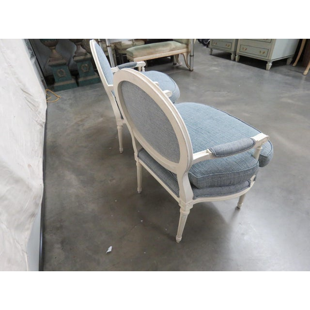 White Louis XVI Style Armchairs - a Pair For Sale - Image 8 of 9