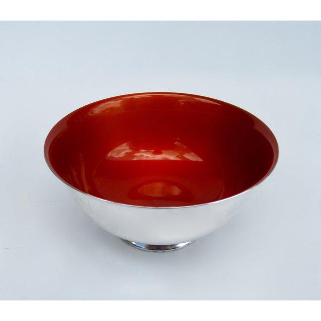 1970s Vintage C.1960s-70s Reed & Barton Tangerine Orange Interior Enameled Paul Revere Serving Bowl For Sale - Image 5 of 12