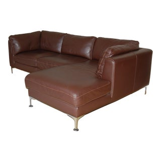 Design Within Reach Nicoletti Leather Chaise Sectional Sofa For Sale