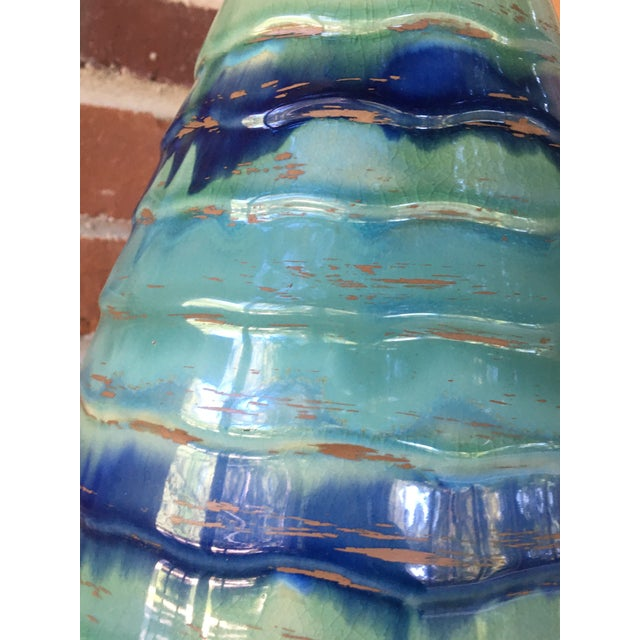 Late 20th Century Contemporary Large Drip and Crackle Glazed Ribbed Vase For Sale - Image 4 of 11