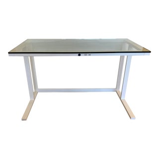 Crate and Barrel Modern Glass Writing Desk For Sale