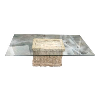 Tessellated Stone Coffee Table with Glass Top For Sale
