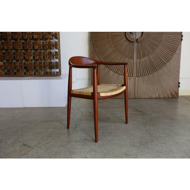 Mid-Century Modern Mid-Century Modern Johannes Hansen for Hans Wegner Round Teak Side Chair For Sale - Image 3 of 12