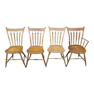 Set of Four 19th Century Mustard Original Painted Arrow Back Chairs For Sale