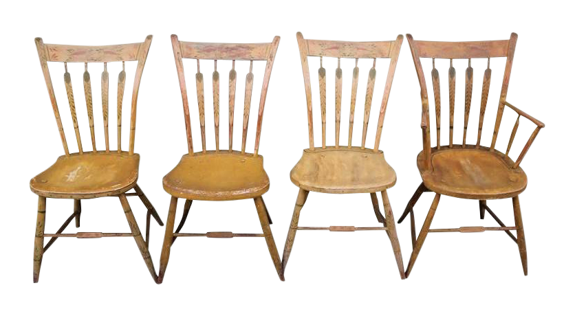 Set Of Four 19th Century Mustard Original Painted Arrow Back Chairs   Image  1 Of 10