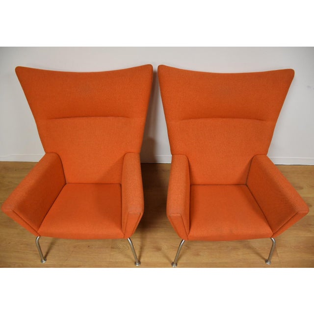 Danish Modern Hans J. Wegner CH445 Orange Lounge Chairs - a Pair For Sale - Image 3 of 10