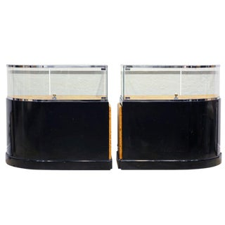 Pair of Bauhaus Style Black Lacquer, Burled Wood and Chrome Display Counters For Sale