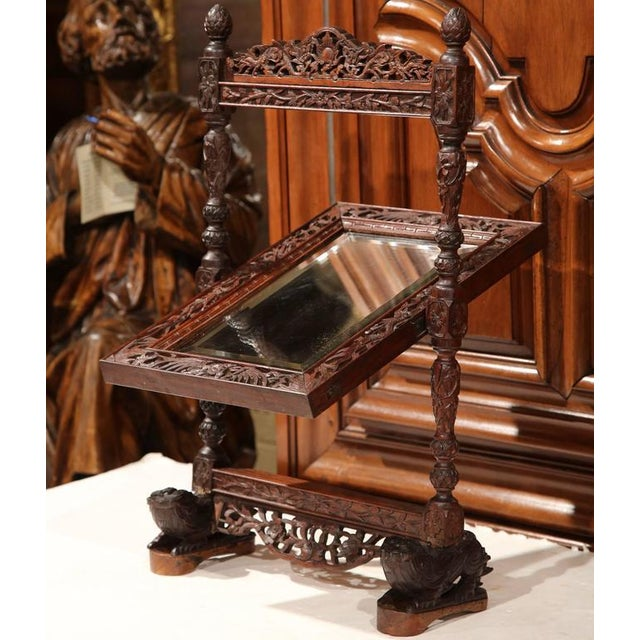 Black Forest 19th Century French Carved Black Forest Free Standing Beveled Glass Mirror For Sale - Image 3 of 7