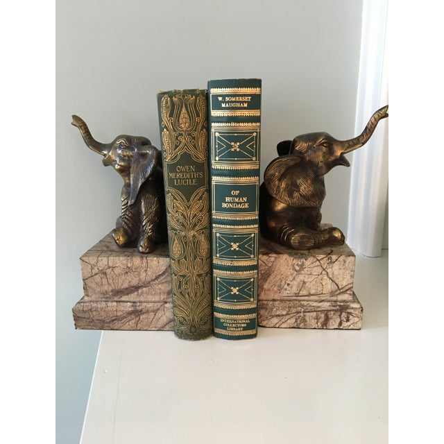 Mid-Century Vintage Brass and Marble Elephant Bookends - a Pair For Sale - Image 4 of 12