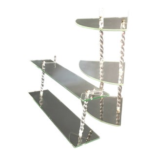1930s Hollywood Regency Glass & Lucite Shelves - a Pair For Sale
