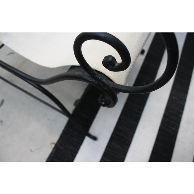 Animal Skin Vintage French Wrought Iron Sling Chair For Sale - Image 7 of 13