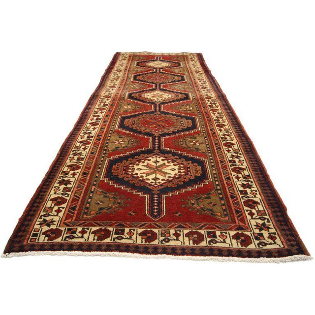 Mid 20th Century 20th Century Nomadic Style Persian Azerbaijan Tribal Hallway Runner - 3′7″ × 10′9″ For Sale - Image 5 of 7