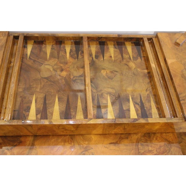 1970s Olive Wood Games Table Backgammon Removable Tray Top Italy 1970s For Sale - Image 5 of 13