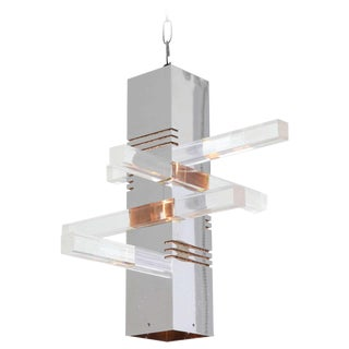 1970s Chrome and Lucite Pendant Light Fixture For Sale