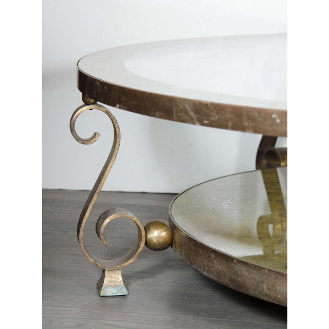 Mid-Century Modern Scroll Leg Mid-Century Modernist Table by Arturo Pani in Bronze and Églomisé For Sale - Image 3 of 7
