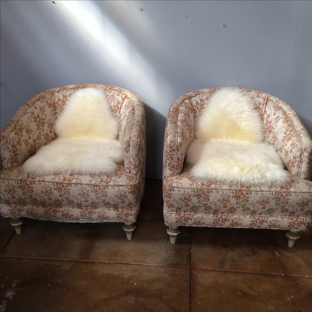Petite Floral Club Chairs - A Pair - Image 3 of 9