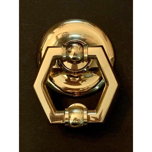 Italian Brass Hexagonal Ring Door Knocker For Sale - Image 11 of 11
