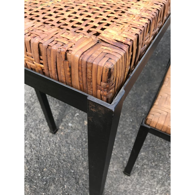 Danny Ho Fong Iron and Reed Dining Table With Six Stools for Tropi-Cal For Sale - Image 12 of 13