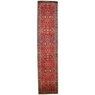 """Pasargad N Y Sarouk Design Hand Knotted Rug - 2'7"""" X 11'10"""" For Sale"""