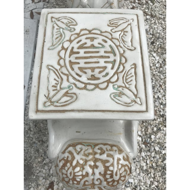 Vintage White Ceramic Elephant Garden Stools - A Pair For Sale In Tampa - Image 6 of 11