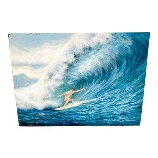 "1982 ""Surfer"" Figurative Coastal Acrylic Painting For Sale"