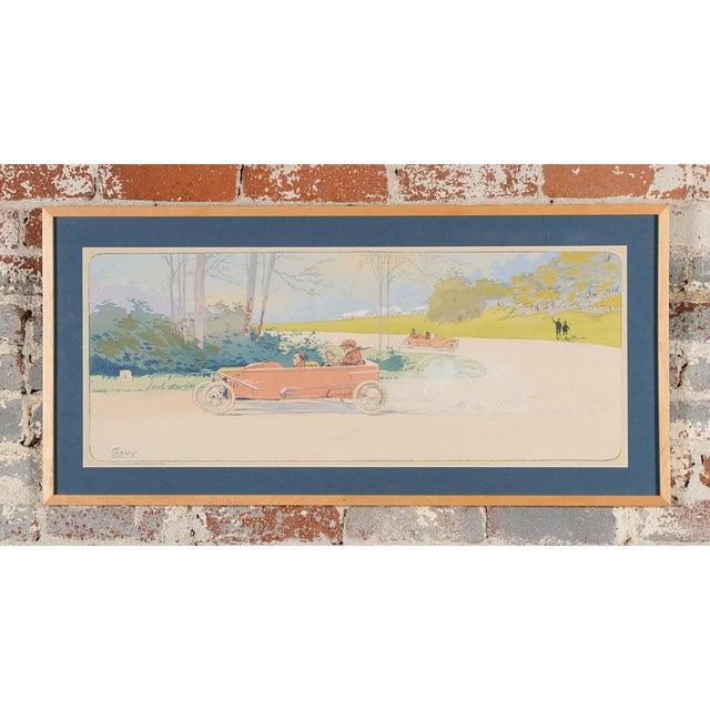 """1913 Original French Art Deco """"Dedalia Car Race"""" Poster - Image 2 of 8"""