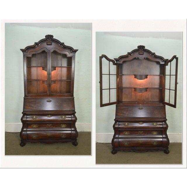 Baroque Henredon Four Centuries Baroque Style Bombe Oak Secretary Desk For Sale - Image 3 of 12