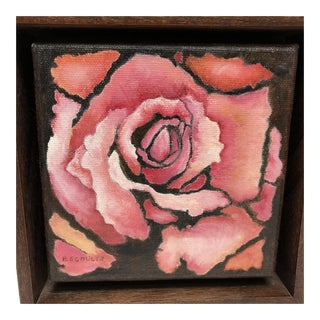 Oil Painting of Pink Rose, Signed Schultz