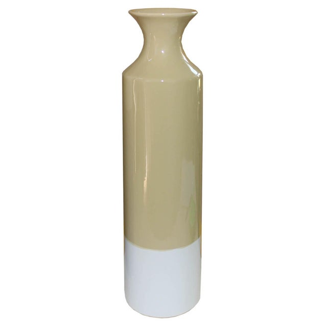 Contemporary Yellow & White Vase For Sale - Image 4 of 4