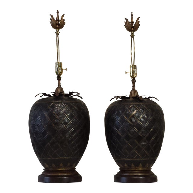 John Richard Brass Table Lamps - A Pair For Sale