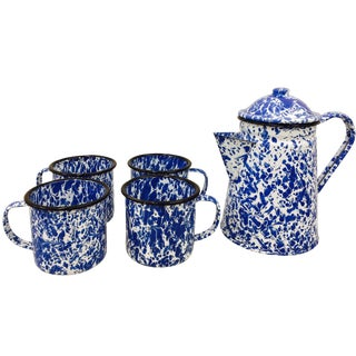 Blue & White Paint Splattered Enamel 5-Piece Tea Set For Sale