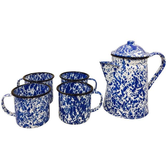 Blue & White Paint Splattered Enamel 5-Piece Tea Set - Image 1 of 11