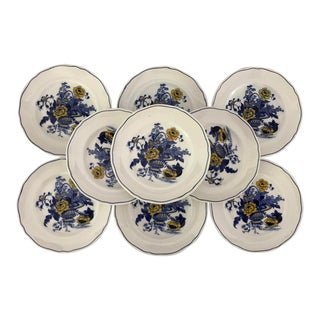 Vintage Enoch Wedgwood Blue & Yellow Floral Set of 10 Bread Plates For Sale