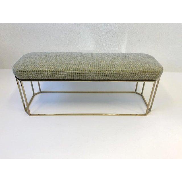 Modern Hexagonal Shape Brass Bench by Milo Baughman For Sale - Image 3 of 12