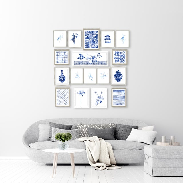 The Sapphire 17 Piece Chinoiserie Set Set of 17 separate images framed (or) framed under glass that will create an instant...