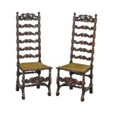 Image of Italian Renaissance Revival Style Antique Pair of Carved Walnut High Ladder Back Side Chairs For Sale