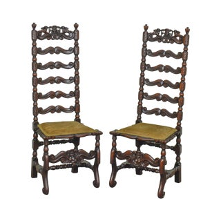 Italian Renaissance Revival Style Antique Pair of Carved Walnut High Ladder Back Side Chairs For Sale